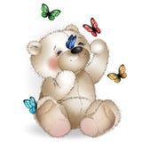 Glücklicher Teddybär und Schmetterling Stockfoto