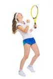 Glücklicher Tennisspieler, der im Erfolg sich freut lizenzfreie stockbilder