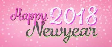Glücklicher Text des neuen Jahres 2018 auf rosa Fahne lizenzfreie abbildung