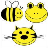 Glücklicher Tier-Tiger-Bienen-Frosch Stockbilder