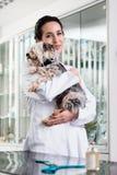 Glücklicher Tierarzt, der kranken Welpen trägt stockbilder