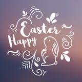 Glücklicher typografischer Hintergrund Ostern mit Osterhasen und Dekorationen Lizenzfreie Stockfotografie