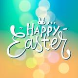 Glücklicher typografischer unscharfer Hintergrund Ostern, Vektor Stockfotos