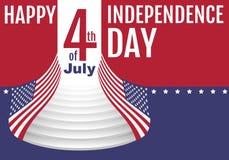 Glücklicher Unabhängigkeitstag Juli 4 Sternstreifen-Flaggensymbol Vereinigte Staaten Stockbilder