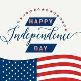 Glücklicher Unabhängigkeitstag 4. Juli viertes Amerikanische Flagge Patriotisch feiern Sie Hintergrund Stockfotografie