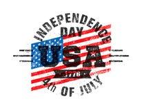 Glücklicher Unabhängigkeitstag USA-Feier-raues Vektor-Illustrations-Gestaltungselement-Konzept Lizenzfreie Stockfotos
