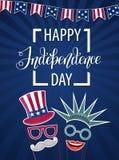 Glücklicher Unabhängigkeitstag USA Viertel von Juli Patriotische Attribute, Parteieinladung Vektorabbildung EPS10 Lizenzfreie Stockfotos