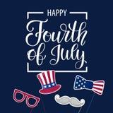 Glücklicher Unabhängigkeitstag USA Viertel von Juli Patriotische Attribute, Parteieinladung Vektorabbildung EPS10 Lizenzfreie Stockbilder