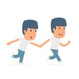 Glücklicher und froher Charakter-Aktivist lässt laufen und schleppt seinen Freund stock abbildung