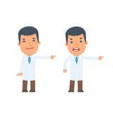 Glücklicher und verärgerter Charakter-Doktor, der Darstellung unter Verwendung seines h macht Lizenzfreies Stockfoto