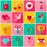 Glücklicher Valentine Day Colorful Icons Lizenzfreies Stockfoto