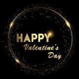 Glücklicher Valentinsgruß ` s Hintergrund mit glänzendem Gold und dem Glühen beleuchtet Text auf schwarzem Hintergrund Vektor lizenzfreie abbildung