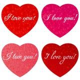Glücklicher Valentinsgruß `s Tag Ein Satz Herzen mit einer Aufschrift - ich liebe dich - zum Valentinstag stockfotografie