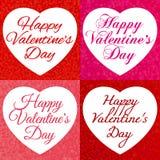 Glücklicher Valentinsgruß `s Tag Felder mit einem Hintergrund von fallenden Herzen und mit einer Aufschrift zum Valentinstag lizenzfreie stockbilder