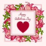 Glücklicher Valentinsgruß `s Tag Karte vom Herzsymbol und von der Aufschrift stock abbildung