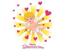Glücklicher Valentinsgruß `s Tag Lustige Amorzeichentrickfilm-figur mit Pfeil und Bogen auf goldenem hellem Hintergrund Vektorill stockbild