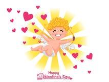 Glücklicher Valentinsgruß `s Tag Lustige Amorzeichentrickfilm-figur mit Pfeil und Bogen auf goldenem hellem Hintergrund Vektorill stockfotografie