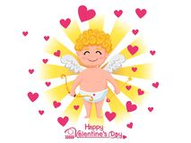 Glücklicher Valentinsgruß `s Tag Lustige Amorzeichentrickfilm-figur mit Pfeil und Bogen auf goldenem hellem Hintergrund Vektorill lizenzfreie stockbilder