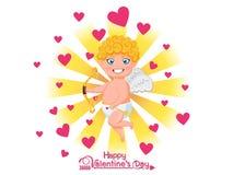 Glücklicher Valentinsgruß `s Tag Lustige Amorzeichentrickfilm-figur mit Pfeil und Bogen auf goldenem hellem Hintergrund Vektorill stockfoto