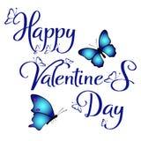 Glücklicher Valentinsgruß ` s Tag mit blauer Farbbeschriftung und blauen Schmetterlingen im weißen Hintergrund stockfotografie