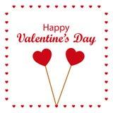 Glücklicher Valentinsgruß ` s Tag mit zwei steckte Herzen fest Vektor Illustratio Lizenzfreie Stockbilder