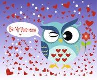 Glücklicher Valentinsgruß ` s Tag! Valentinsgruß ` s Tageskarte mit netter flacher blauer Eule mit Blume auf Steigungsblauhinterg stock abbildung