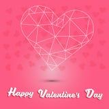 Glücklicher Valentinsgruß ` s Tag und weißes Herzpolygon auf rosa Herzhintergrund Stockfotografie