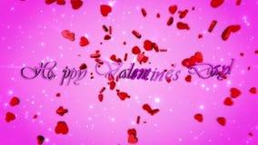 Glücklicher Valentinsgruß `s Tag Videogruß, Glückwunsch Animation 3D stock video footage