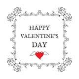 Glücklicher Valentinsgruß `s Tag Weinlese, Retrostil Postkarte für invita Lizenzfreie Stockfotos