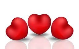 Glücklicher Valentinsgruß ` s Tagesrealistisches Herz 3d Rotes Herz lokalisiert auf weißem Hintergrund mit Reflexion Auch im core Stockfoto