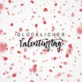 Glücklicher Valentinsgruß-Tag die deutsche Aufschrift beschriftend handgemacht Stockbilder