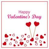 Glücklicher Valentinsgruß-Tag mit verschiedenen Herzen und zwei steckte Herzen fest Stockbilder