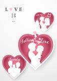 Glücklicher Valentinsgruß-Tageshintergrund Papierschnitt und Kunstart Lizenzfreie Stockfotos