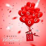 Glücklicher Valentinsgruß-Tageshintergrund, roter Ballon in der Form des Herzens mit Bogen und Band und Papiereinkaufstasche Auch stock abbildung