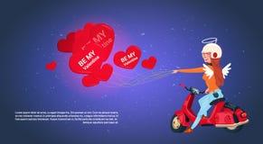 Glücklicher Valentinsgruß-Tageskonzept-Frauen-Amor, der das Retro- Bewegungsfahrrad hält Herz-geformte Luft-Ballone reitet stock abbildung