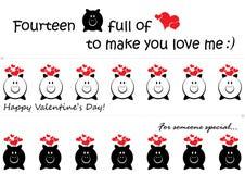 Glücklicher Valentinsgruß-Tagessatz von drei Seitenhaltern stockfoto