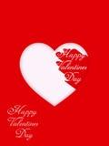 Glücklicher Valentinsgrußtag Designgrußkarte Weißes Inneres auf einem roten Hintergrund Stockfotos