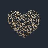 Glücklicher Valentinsgrußtag Goldene Beschriftung Lizenzfreies Stockfoto
