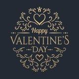 Glücklicher Valentinsgrußtag Goldene Beschriftung Stockfotografie