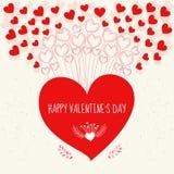 Glücklicher Valentinsgrußtag Karte knirschend Lizenzfreies Stockbild