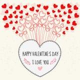 Glücklicher Valentinsgrußtag Karte knirschend Lizenzfreie Stockbilder