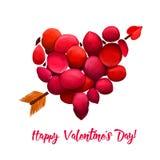 Glücklicher Valentinsgrußtag Unterbrochenes Inneres Herz gemacht von den roten Stücken mit Pfeil Romantisches Feiertagsplakat, Gr Stockfoto