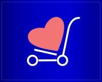 Glücklicher Valentinsgrußtag Warenkorb mit Herzen auf einem blauen Hintergrund Laufkatze auf Rädern Lizenzfreie Stockfotografie