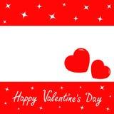 Glücklicher Valentinsgrußtag Zwei rote Innere Romantische Hintergrundschablone mit funkelnden glänzenden Sternen Papierdekoration Lizenzfreies Stockfoto