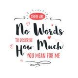 Glücklicher Valentinsgrußtagesbeschriftungsgruß - Typografieplakat mit mit Wörtern der Liebe Vektorillustration für populären Fei Stockbilder