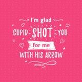 Glücklicher Valentinsgrußtagesbeschriftungsgruß - Typografieplakat mit mit Wörtern der Liebe Vektorillustration für populären Fei Lizenzfreie Stockfotos