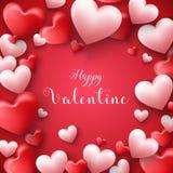 Glücklicher Valentinsgrußtagesrahmenhintergrund mit Herzen steigen im roten Hintergrund im Ballon auf Stockfoto