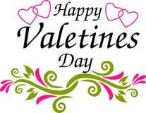 Glücklicher Valentinsgrußtagestext und -herz auf einem weißen Hintergrund Lizenzfreie Stockfotos