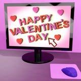 Glücklicher Valentinstag auf dem Bildschirm, der on-line-Gruß zeigt Stockbilder