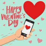 Glücklicher Valentinstag auf Smartphone Stockfoto